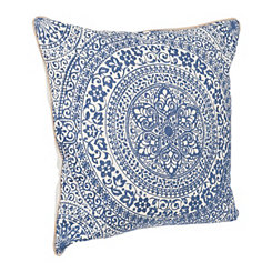 Blue Floral Mosaic Medallion Pillow