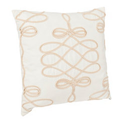 White Scroll Applique Pillow