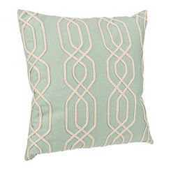 Teal Lattice Ribbon Embroidered Pillow