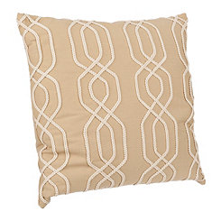 Tan Lattice Ribbon Embroidered Pillow