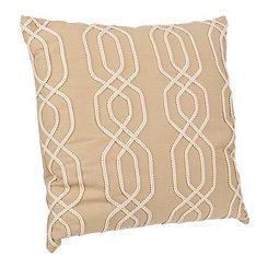 Tan Lattice Ribbon Embroidered Pillow