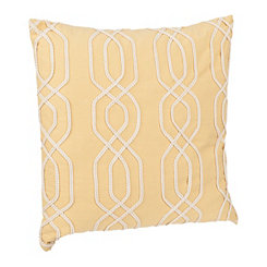 Yellow Lattice Ribbon Embroidered Pillow