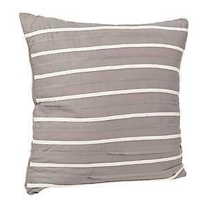 Gray Striped Applique Pillow