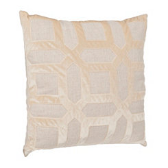 Tan Geometric Velvet Applique Pillow