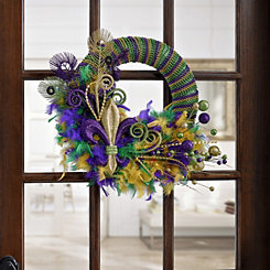 Beads and Feathers Mardi Gras Wreath