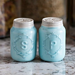 Blue Vintage Jar Salt and Pepper Shaker Set