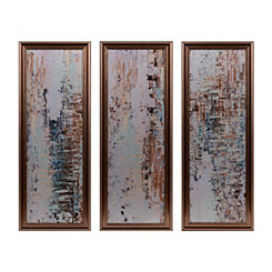 Abstract Metal Mirrored Framed Art Set, Set of 3