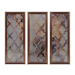 Abstract Quatrefoil Mirrored Framed Art, Set of 3