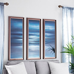 Teal Sea Mirrored Framed Art, Set of 3