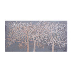 Golden Gray Trees Canvas Art
