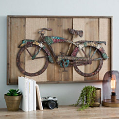 Framed Metal Bicycle Wall Plaque