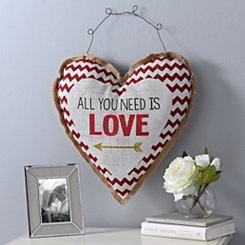 All You Need Is Love Heart Burlap Wall Hanger