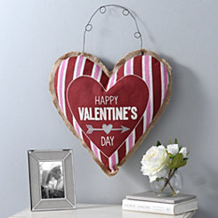 Happy Valentine's Day Heart Burlap Wall Hanger