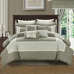 Aideen Taupe 24-pc. Queen Bedding Room in a Bag