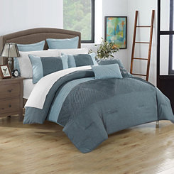 Greta Blue 7-pc. Queen Comforter Set