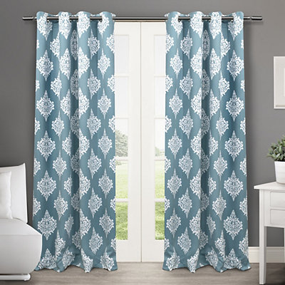Teal Medallion Curtain Panel Set, 84 in.