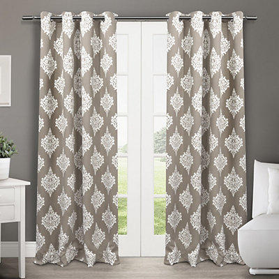 Taupe Medallion Curtain Panel Set, 84 in.