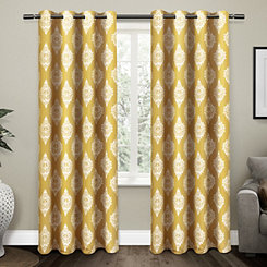 Gold Medallion Curtain Panel Set, 84 in.