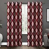 Burgundy Medallion Curtain Panel Set, 84 in.