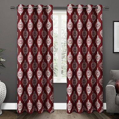 Burgundy Medallion Curtain Panel Set, 84 in.