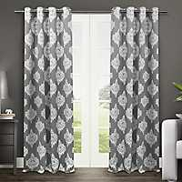 Gray Medallion Curtain Panel Set, 96 in.