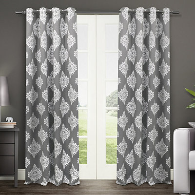 Gray Medallion Curtain Panel Set, 96 in.