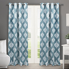 Teal Medallion Curtain Panel Set, 96 in.