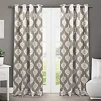 Taupe Medallion Curtain Panel Set, 96 in.