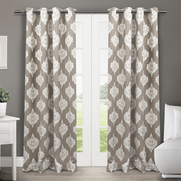 taupe medallion curtain panel set 96 in