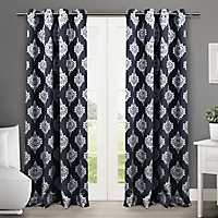 Navy Medallion Curtain Panel Set, 96 in.
