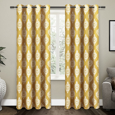 Gold Medallion Curtain Panel Set, 96 in.