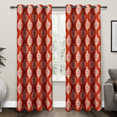 Orange Medallion Curtain Panel Set, 96 in.