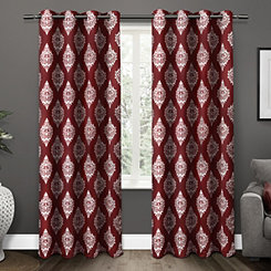 Burgundy Medallion Curtain Panel Set, 96 in.