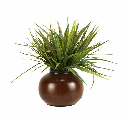 Green Grass Arrangement in Brown Ceramic Planter