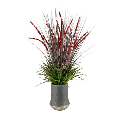 Burgundy Onion Grass Arrangement in Gray Planter