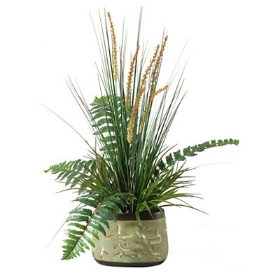 Onion Grass and Fern Arrangement in Green Planter