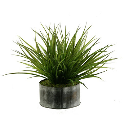 Wild Grass Arrangement in Rustic Tin Planter