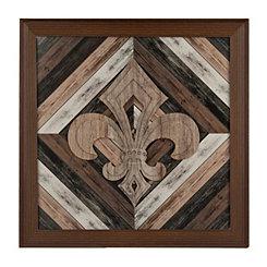 Slatted Wood Fleur-de-Lis Shadowbox