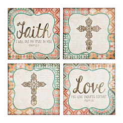 Cross, Faith, and Love Canvas Art Prints, Set of 4