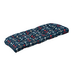 Navy Anchor Outdoor Settee Cushion