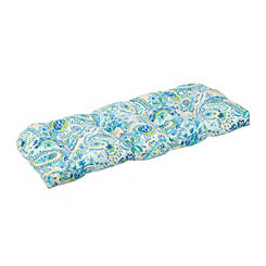Blue and Yellow Paisley Outdoor Settee Cushion