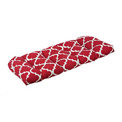 Kobette Red Quatrefoil Outdoor Settee Cushion