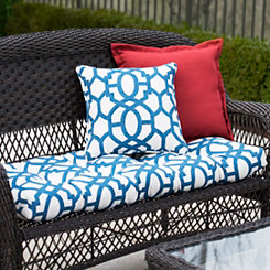 Blue Trellis Outdoor Settee Cushion