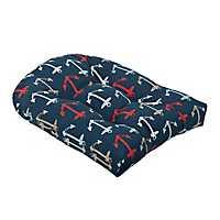 Navy Anchor Outdoor Cushion