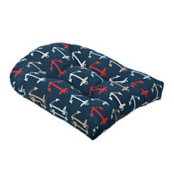 Navy Anchor Outdoor Cushion