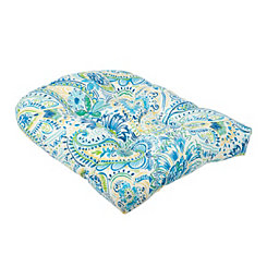 Blue and Yellow Paisley Outdoor Cushion
