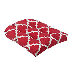 Kobette Red Quatrefoil Outdoor Cushion