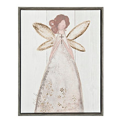 Angel with Cross Framed Canvas Art Print