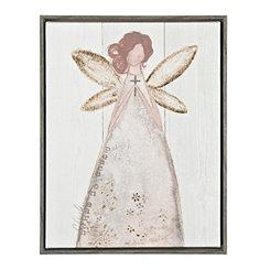 Angel with Cross Framed Canvas Art Print
