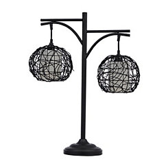 Bronze Wicker Double Table Lamp